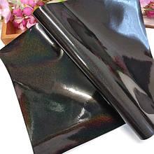 Экокожа  лаковая с голограммой, цвет черный, 20 х 35 см