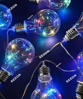 Лампочки прозрачные 40мм, 20 LED, 7м, мульти
