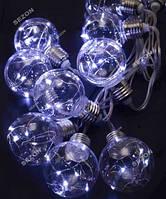 Лампочки РОСА 60мм, 10шт, 5м, белый + USB
