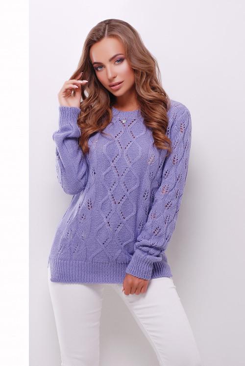 Удобный однотонный женский свитер прямого силуэта фиалка 44-50