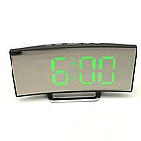 Електронні годинники з дзеркальним дисплеєм, будильник, температура, від батарейок і USB, фото 2