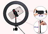 Блогерская круглая лампа настольная с креплением для телефона, диаметр 26см, питание USB, фото 10