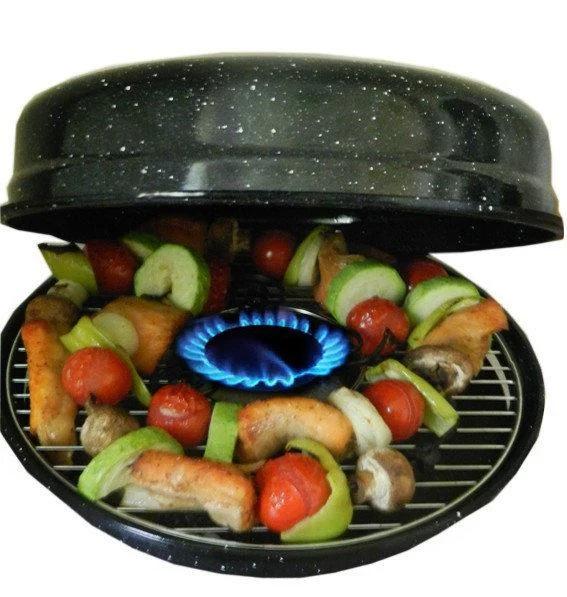 Газовая сковорода гриль газ Unique UN, с крышкой