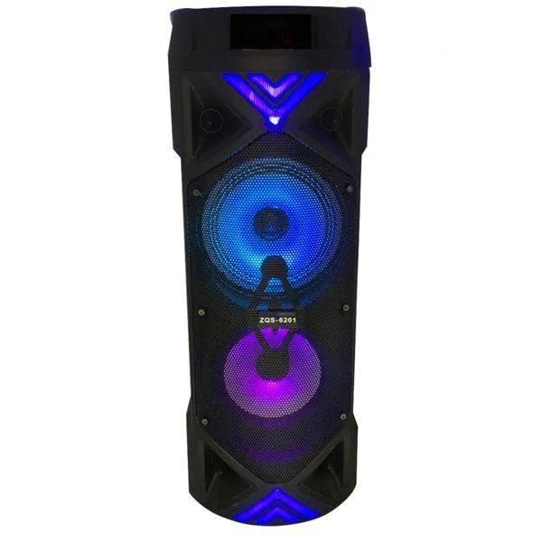 Безпроводная колонка караоке ZQS-6201, микрофон, цветомузыка, пульт, радио