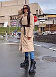 Пальто из экокожи зимнее женское стеганное с воротником стойкой (р. 42-46) 2202171, фото 7