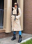 Пальто из экокожи зимнее женское стеганное с воротником стойкой (р. 42-46) 2202171, фото 2