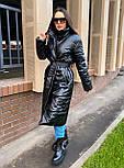 Пальто из экокожи зимнее женское стеганное с воротником стойкой (р. 42-46) 2202171, фото 4