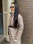 Пальто из экокожи зимнее женское стеганное с воротником стойкой (р. 42-46) 2202171, фото 5