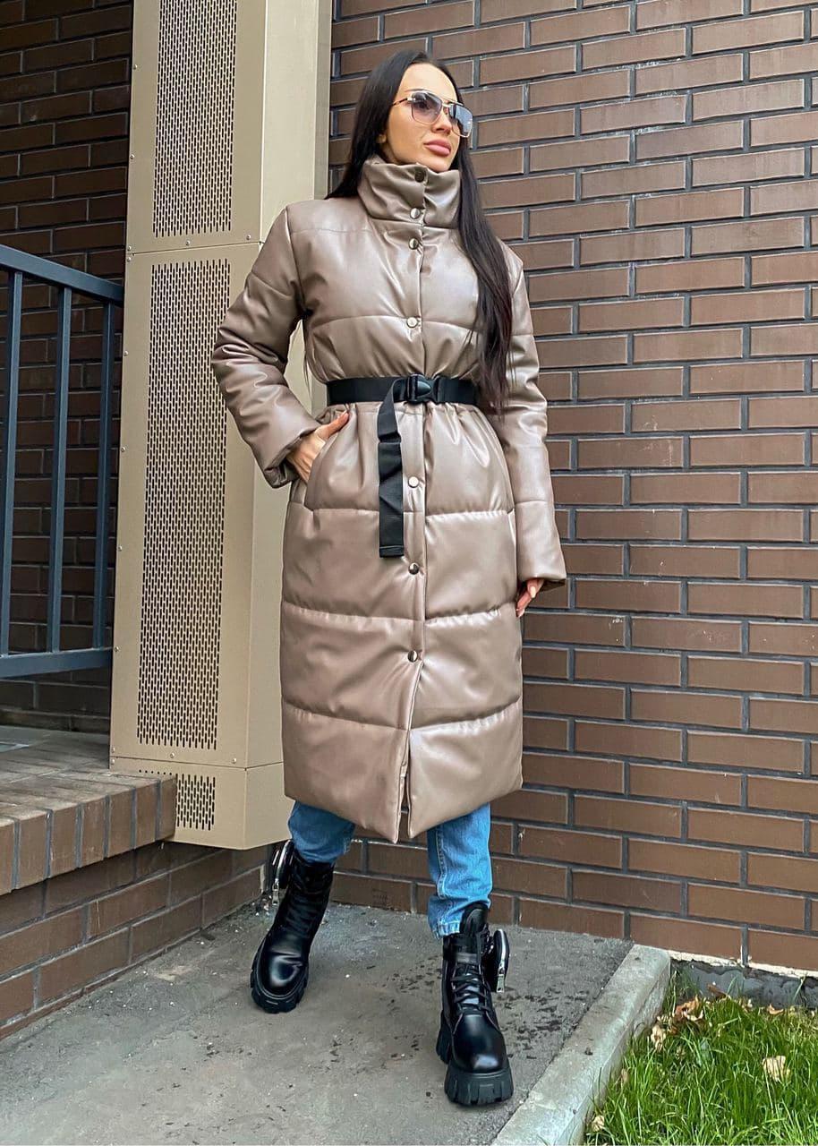 Пальто из экокожи зимнее женское стеганное с воротником стойкой (р. 42-46) 2202171