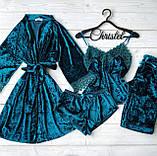 Женская пижама четверка из мраморного велюра, фото 2