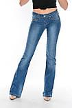 Джинсы женские OMAT 9945 клеш синие, фото 3