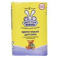 Детское мыло для чувствительной кожи Ушасты нянь с оливковым маслом и ромашкой, 90г