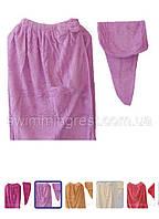 Рушник - халат жіночий + чалма мікрофібра для сауни лазні 145*75 Молочний