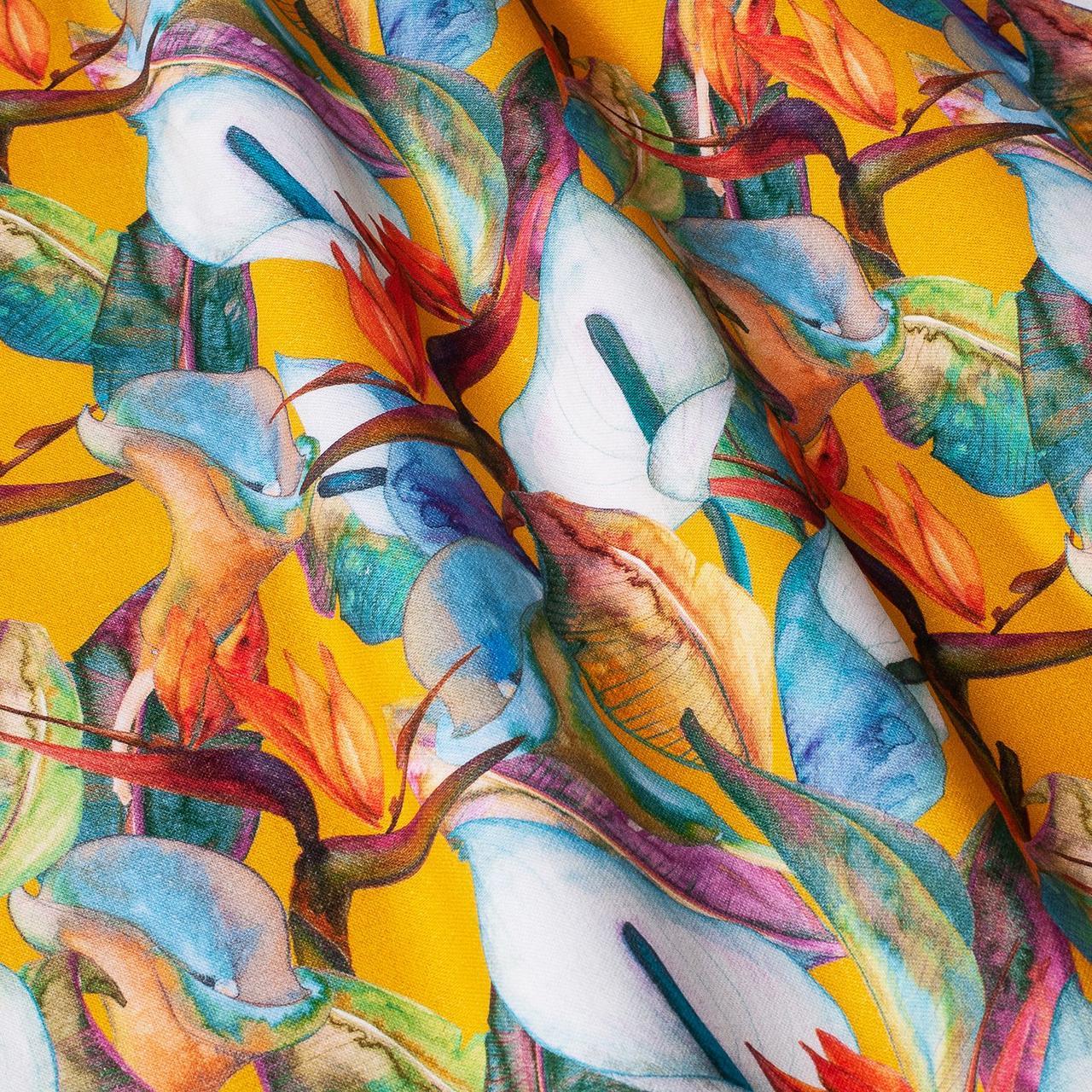 Декоративная ткань оранжевые, голубые и белые цветы Испания 87895v5