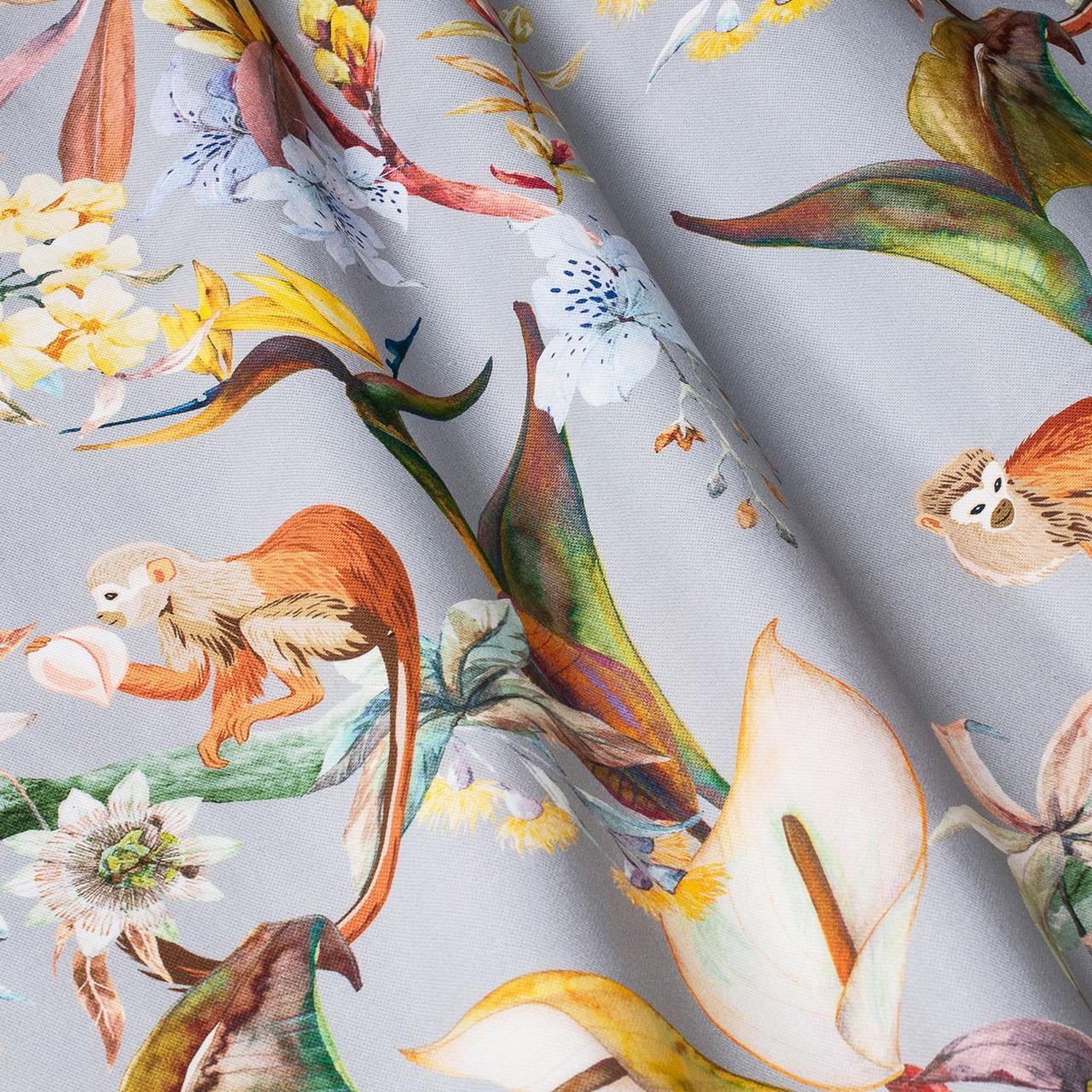 Декоративна тканина помаранчеві тварини на сірому тлі Іспанія 87883v6