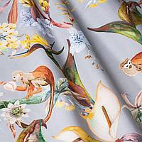 Декоративна тканина помаранчеві тварини на сірому тлі Іспанія 87883v6, фото 1