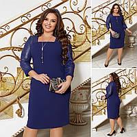 Женское трикотажное платье с пайетками батал, стильное платье блеск паетка, элегантное платье большого размера