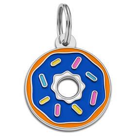 Адресник емальований Пончик синій, діаметр 2,9 см (гравірування під замовлення 3-7 днів)
