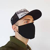 Маска защитная Золушка на лицо многоразовая 2-х слойная Чёрная М2002, КОД: 1625239