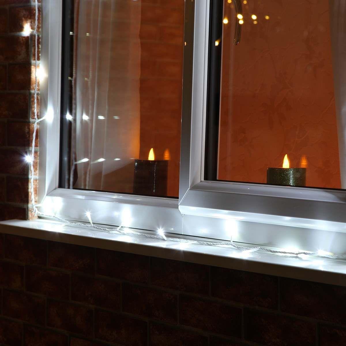 Гирлянда светодиодная уличная Нить, Луч LedGO 30 м 300 LED (полупро), белый кабель, холодный белый