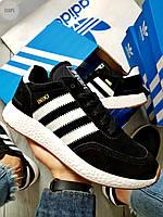 Чоловічі кросівки Adidas iniki / black (Тільки 42) Чорні, фото 1