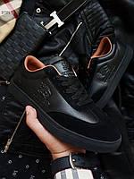 Стильные мужские кеды Burberry  кроссовки черные (р. 42.5, 43, 44)