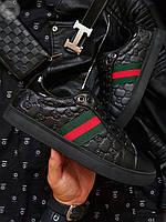 Стильные мужские кеды Gucci (р. 39 40 41 42 43 44) Кроссовки черные