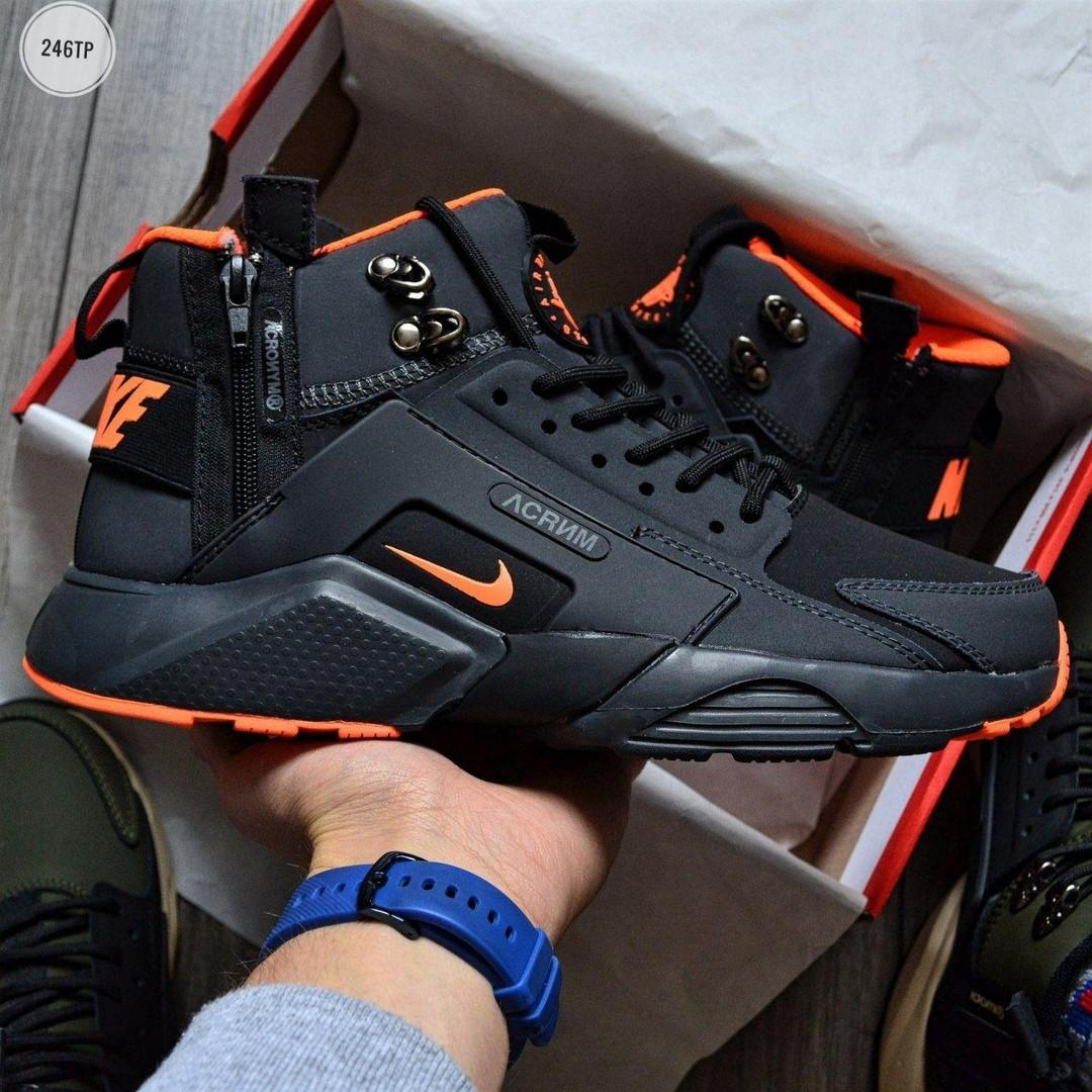 Мужские кроссовки Nike Huarache X Acronym City MID Orange (р. 41 42 43 44 45) Черные