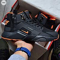 Чоловічі кросівки Nike Huarache X Acronym MID City Orange (р. 41 42 43 44 45) Чорні, фото 1