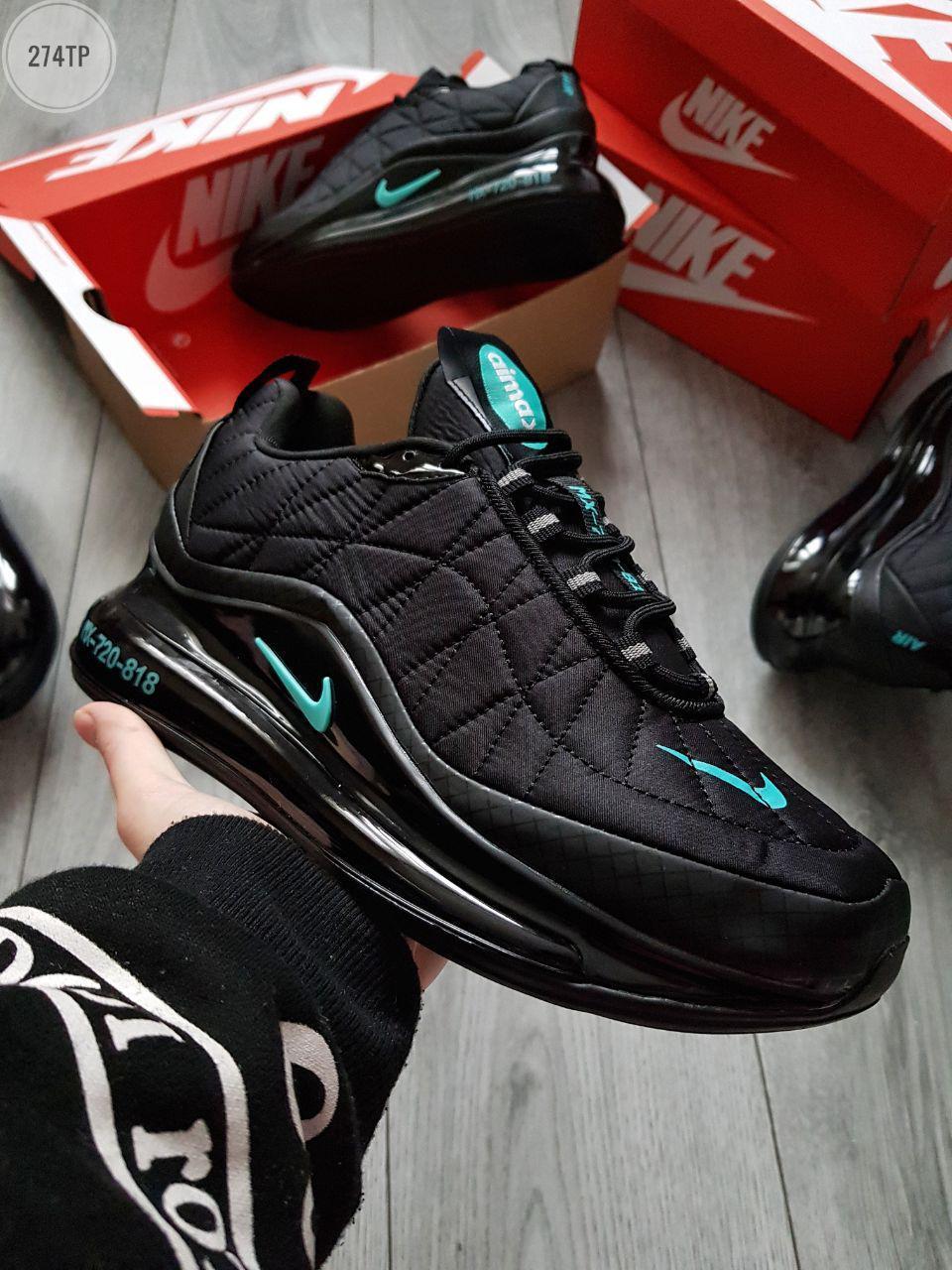 Чоловічі кросівки Nike Air Max 720-818 Black/Blue (р. 41 42 43 44 45) Чорні