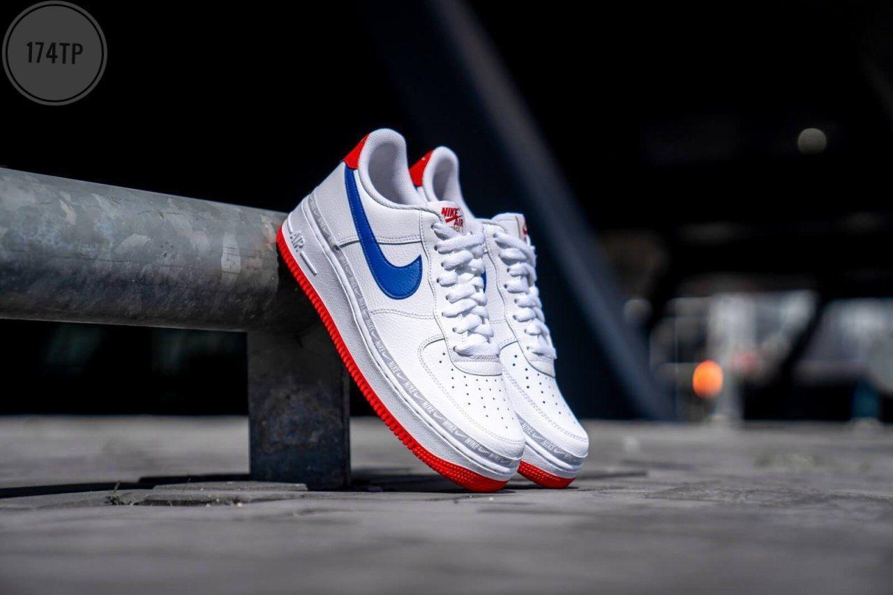 Мужские кроссовки Nike Air Force 1 '07 LV8 White/Blue (р.41 43 44) белые