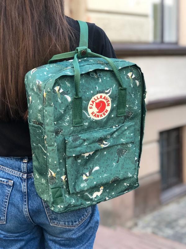 Стильний рюкзак Fjallraven Kanken зелений з принтом/Канкен Канкен портфель для школи і на кожен день