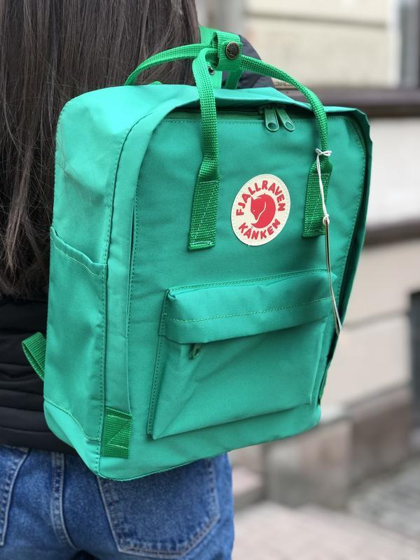 Стильный рюкзак Fjallraven Kanken зелёный/ Канкен портфель для школы и на каждый день