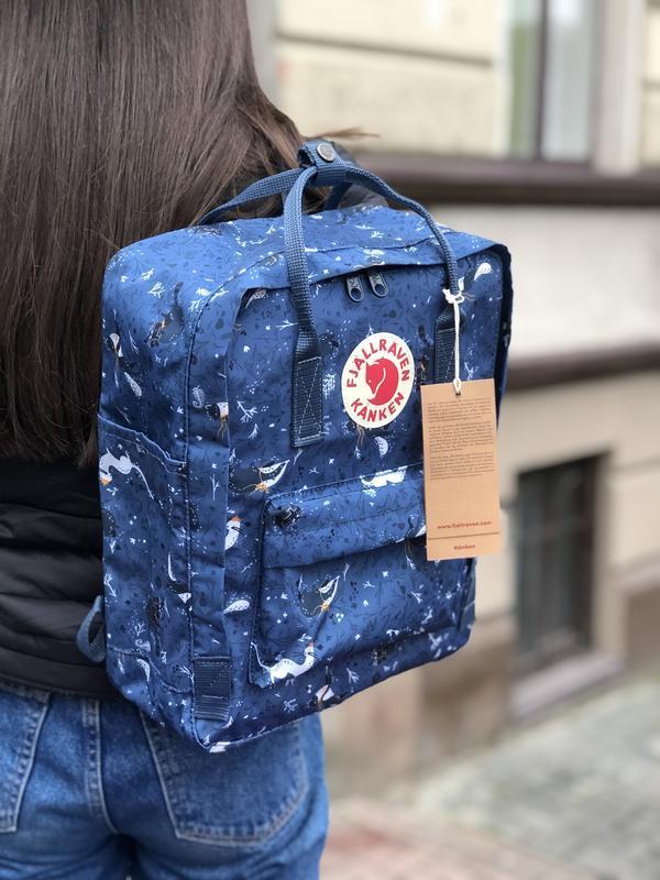 Стильный рюкзак Fjallraven Kanken синий с принтом/ Канкен портфель для школы и на каждый день