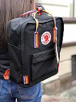 Стильный рюкзак Fjallraven Kanken чёрный/ Портфель для школы и на каждый день