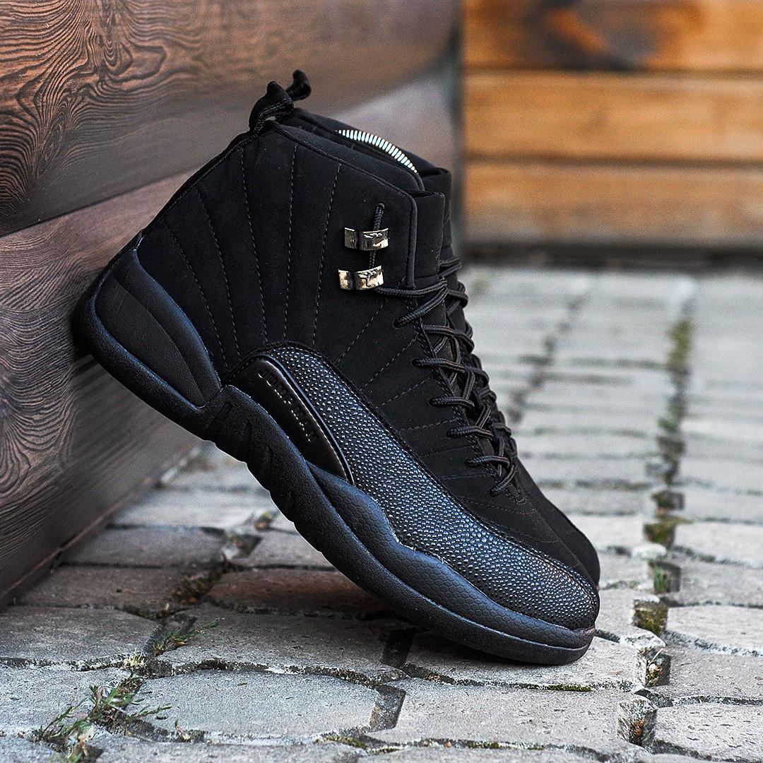 Мужские кроссовки Nike Air Jordan 12 чёрные. Размеры (41, 42, 43, 44, 45)