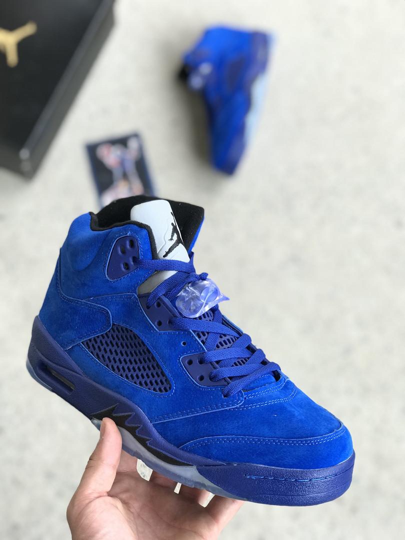 Мужские кроссовки Nike Air Jordan 5 синие. Размер 40
