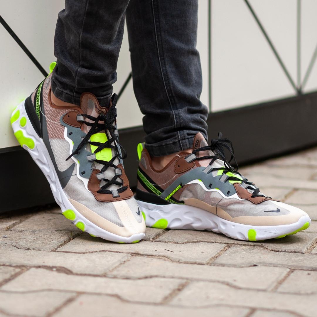 Мужские кроссовки Nike React Element салатовые. Размеры (41, 42, 43, 44, 45)