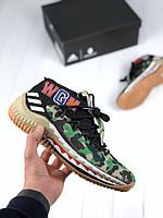 Мужские кроссовки Bape x Adidas Dame 4 camo green, топ  , фото 1