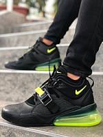 Мужские кроссовки Nike Air Force 270 чёрный-салатовый. Размеры (40, 41, 42, 43, 44, 45)