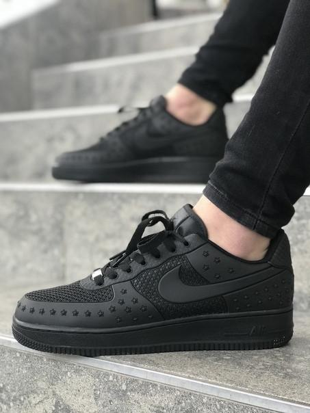Мужские кроссовки Nike Air Force чёрный. Размеры (40,41,42,43,44,45)