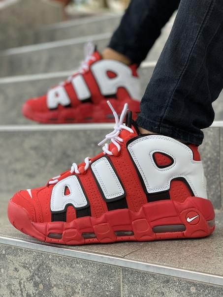 Мужские кроссовки Nike Air More Uptempo красные. Размеры (40,41,42,43,44,45)