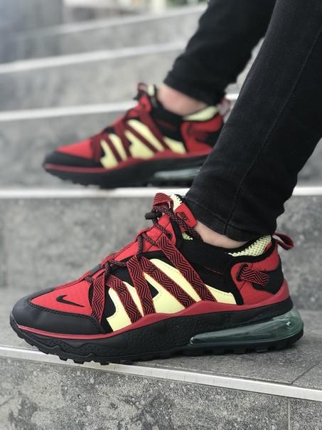 Мужские кроссовки Nike Air Max 270 Bowfin University Red Light Citron. Размеры (40,41,42,43,44,45)