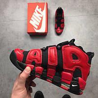 Мужские кроссовки Air More Uptempo QS Black Red , фото 1