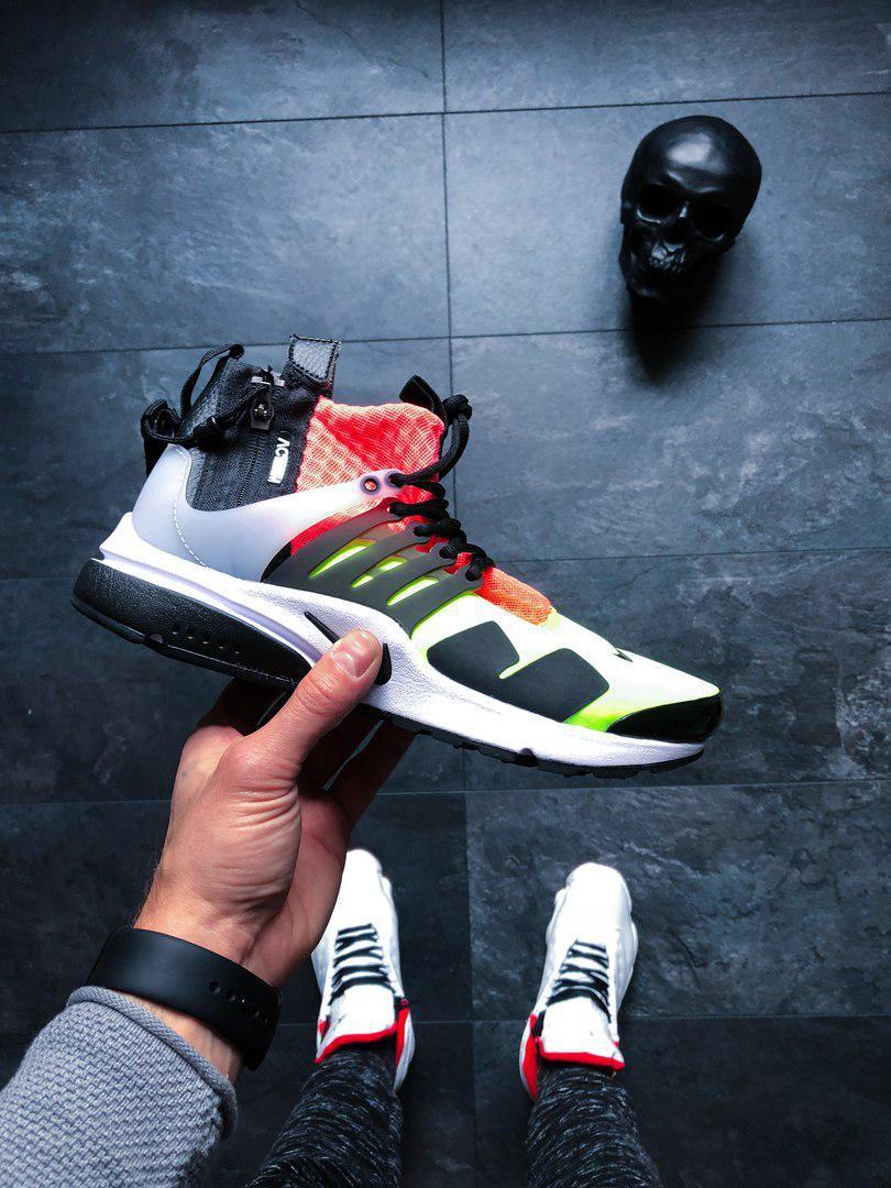 Мужские кроссовки Nike Air Presto Mid Acronym White Black Hot Lava Volt Lab