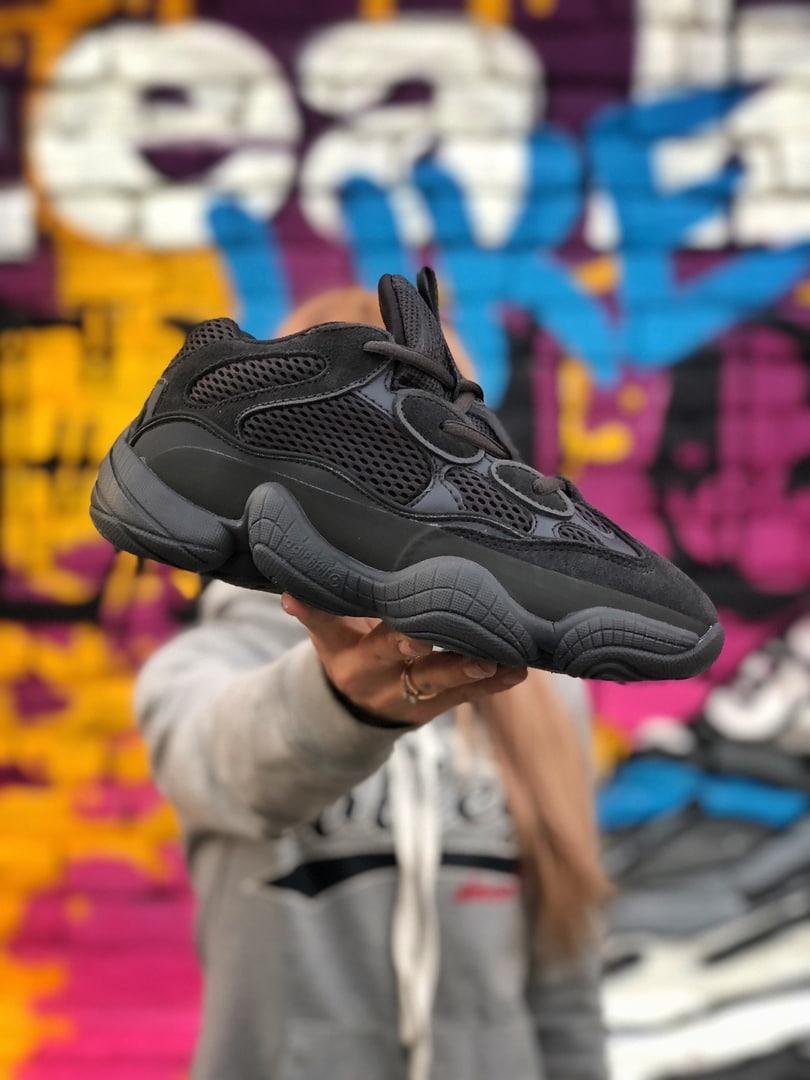 Мужские кроссовки Adidas Yeezy 500 Utility Black (чёрные). Размеры (41,42,43,44,45)