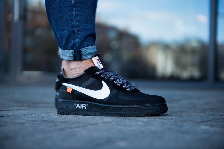 Мужские кроссовки Off-White x Nike Air Force 1 Low чёрные.