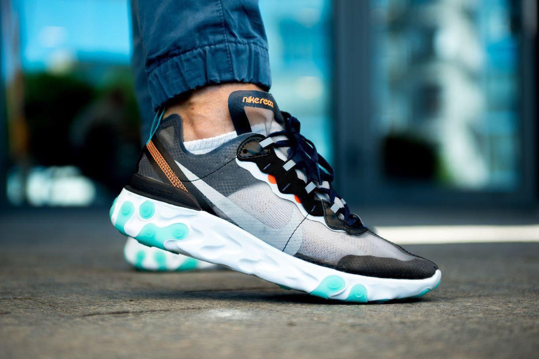 Мужские кроссовки Nike React Element 87 серый-голубой. Размеры (42,43,44,45)