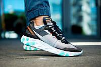 Мужские кроссовки Nike React Element 87 серый-голубой. Размеры (42,43,44,45), фото 1