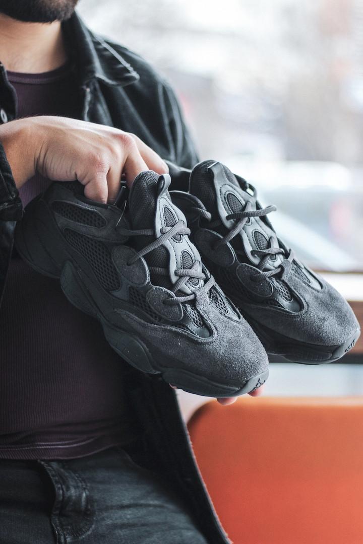 Мужские Adidas Yeezy 500 Black чёрные. Размеры (36,37,38,39,41,43,44)